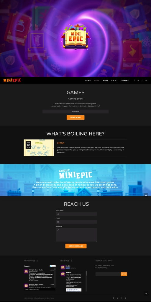 MiniEpic Full Website Design View